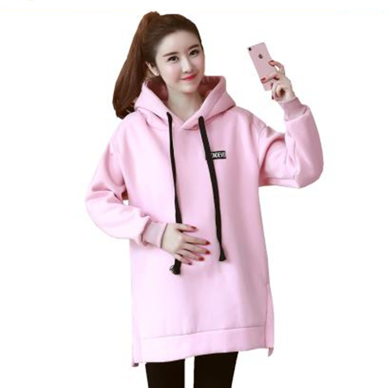 Maternity Hoodies Pullover Sweatshirt Plus Size Pregnancy Clothing Outerwear warm Thickened With Velvet for Pregnant Women B0318<br>