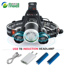 Micro USB Induction Headlight IR Sensor CREE XML T6 Headlamp 10000 Lumen  Head Flashlight Torch 18650 Rechargeable Head light