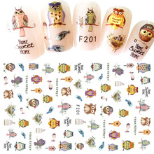 1 Sheets Cartoon Owl DIY Designs 3D Nail Sticker Nail Art Decorations Cute Decals Polish Gel Decor Nail Art Accessory CHF201(China)