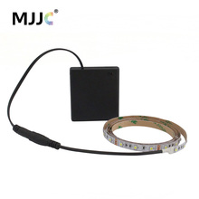 Battery Powered LED Strip Light 50CM 1M 2M 3M Adhesive Tape Lights SMD 3528 Battery Box Operated LED Stripe Warm Cool White(China)