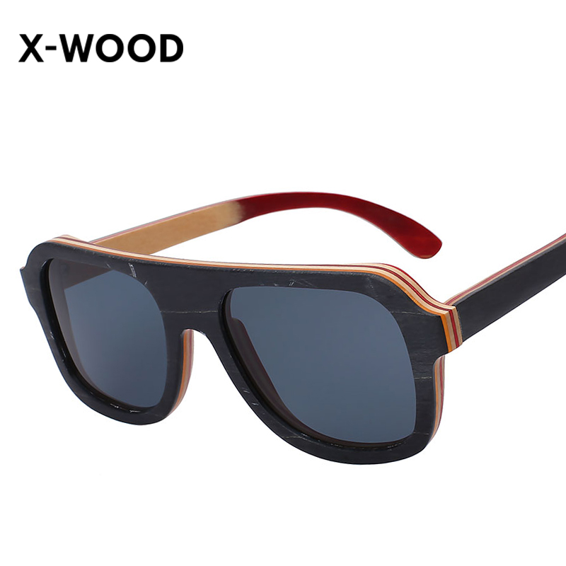X-WOOD 2017 New Fashion Design Wooden Sunglasses Flat Top Hand Made Wood Sun Glasses Europe Square Bamboo Eyewear Polarized Lens<br><br>Aliexpress