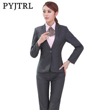 PYJTRL Brand Black Gray Women Business Market Manager Spring Autumn Long Sleeve Suits One Word Pocket Occupation Suit(China)