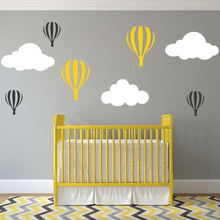 Clouds Hot Balloon Personalized Vinyl Wall Sticker Decal Mural Words removable wall stickers(China)