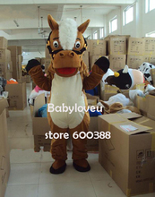 High quality Adult size Cartoon Mascot Costume brown horse mascot cosplay halloween costume christmas Crazy Sale