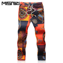 MISNIKI 2017 Summer Designer Linen Pants Men Printing Casual Jogger Pants Boys