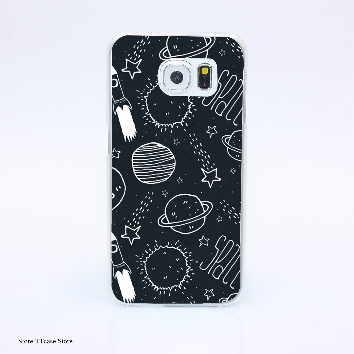 3088G Space Doodles Print Hard Transparent font b Case b font Cover for Galaxy S3 S4