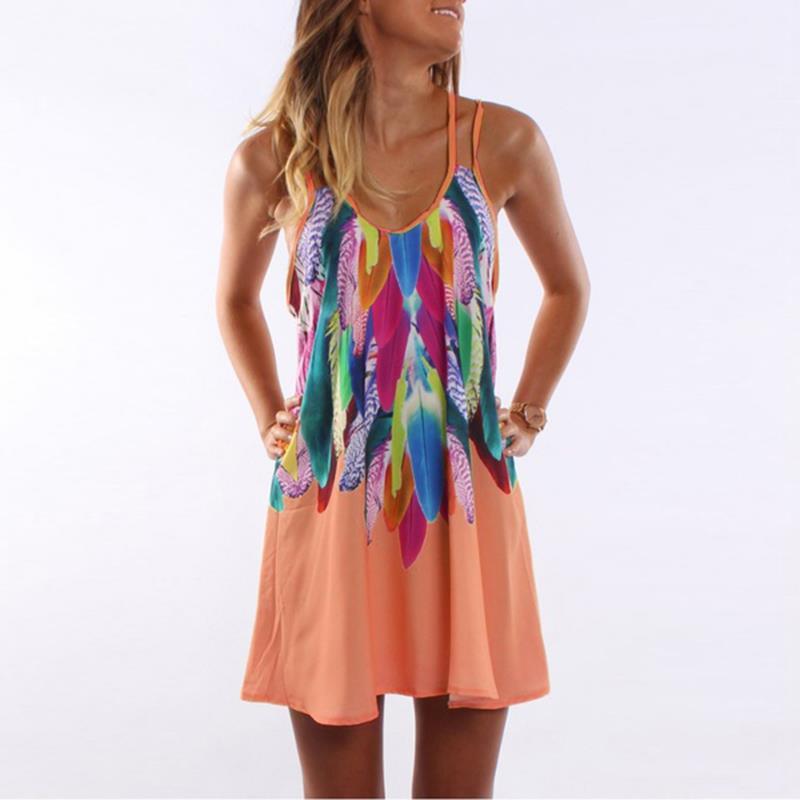 Women Bohemian Dress Feather Printed Beach Dress Causal Loose Spaghetti Strap Short Summer Dress S-5XL Plus Size Robe WS804O 4
