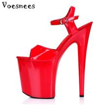 Women Shoes 2017 High Heel 20cm Thick Soles Peep Toe Model Catwalk Nightclub Sexy Waterproof Sandals Steel Pipe Dance Shoes(China)