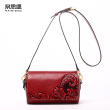 High quality Chinese style Genuine leather fashion female name brand pattern handbag Vintage shoulder Messenger Bag women