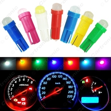 50pcs T5 COB Led Ceramic Dashboard Gauge Instrument Wedge Base Car Auto Side Wedge Light Lamp Bulb 12V White/Blue/Red #CA5018