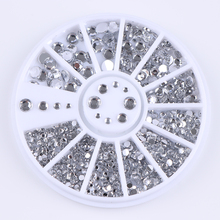 Silver Mixed Size Nail Rhinestones Decorations in Wheel(China)