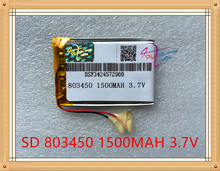 Liter energy battery 3.7V lithium polymer battery 803450 1500mAh GPS battery MP3 MP4 speaker teaching machine
