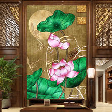 Free Shipping Modern Chinese living room bedroom 3D lotus vertical version restaurant hotel coffee shop wallpaper mural