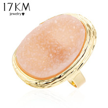 17KM 5 Colors Natural Stone Rings 2016 Hot  Big Gold Color Adjustable Ring Midi bague Love Wedding Rings for Women Jewellery