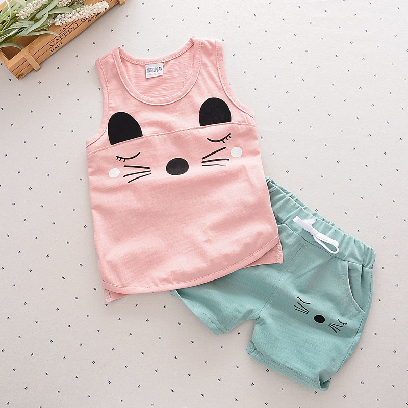 2017 Summer Children Girl Clothing Sets Fashion Cartoon Baby Girls&boys Sports Costume Shorts Kids Clothing Set Suit(China (Mainland))