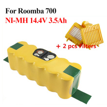 14.4V 3500mAh Power Tool Battery Pack for iRobot Roomba 700 Series 770 780 790 Vaccum Cleaner replacement battery+2pcs Filters