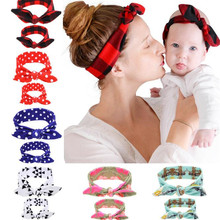 YWHUANSEN 2pcs/set Mommy and Me Top Knots Fabric Headwrap Rabbit Ear Headband Head Wear Girls Mom and Daughter Turban Set(China)