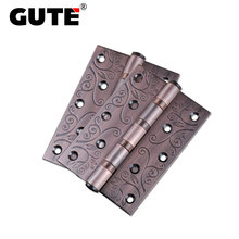 GUTE Vintage Decorative Pattern Bearing Door Hinges Stainless Steel Thickness 3mm Butt Hinge 5 inch Furniture Flat Open Hinge(China)
