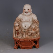 Red alum Wood Glaze pattern Laughing Buddha To ward off bad luck mascots Antique curios(China)