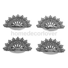 Fashion New 4pcs Wedding Party Table Place Name Number Card Clip Peacock Stand Holder Antique Silver(China)