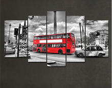 2016 Special Offer Oil Painting 5 Piece London Bus Canvas Painting Modern Home Decor Wall Art Picture Printing For Living Room