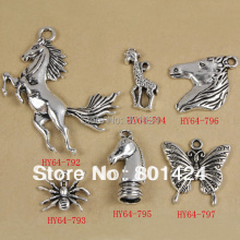 free shipping 64-837 mixed metal animal charm bear elephant horse tiger leopard wolf sika deer butterfly charm