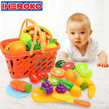 23PCS Vegetable Cutting Pieces Kids Pretend Role Play Basket Kitchen Cutting Set Toy Food Pretend Fruits Play Toys for Children