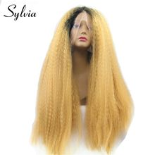 Sylvia Short Black Root Ombre Blonde Long Yaki Straight Heat Resistant Fiber Hair Synthetic Lace Front Wig For African American(China)
