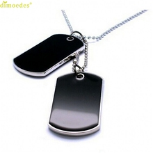 Diomedes Newest Gorgeous  Fashion Army Style Black 2 Dog Tags Chain Beauty Mens Pendant Men Necklace Jewelry Gift New #0213