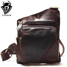New High Quality Vintage Casual Crazy Horse Leather Genuine Cowhide Men Chest Bag Small Messenger Bags For Man Shoulder Bags(China)