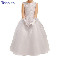 Children Bridesmaid Costume Big Bow White Christening Gown Pageant Dress Sequined Toddler Girls Clothing Brand Flower Sundress(China)