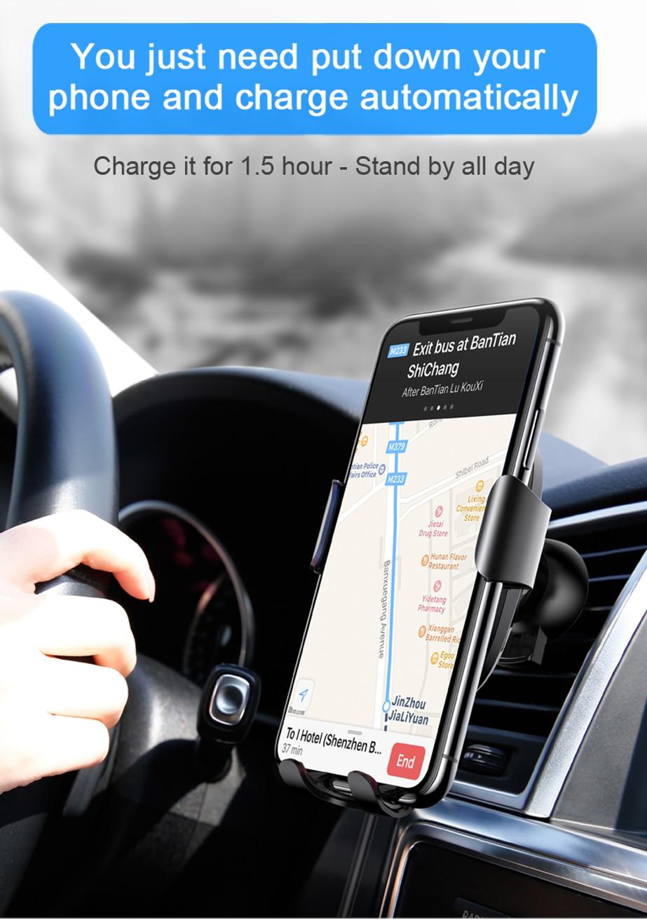 Baseus Car Mount Qi Wireless Charger شاحن سيارة لاسلكي سريع 8