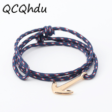 1PC New Silver Alloy Anchor Bracelet Multilayer Bracelet for Women Men Friendship Bracelets(China)