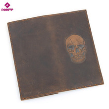 DOLOVE Personality Wallets Men Genuine Leather Long Design Men's Wallet Skull Printed Vintage Crazy Horse Cowhide Man Clutches