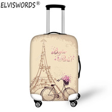 ELVISWORDS Eiffel Tower Waterproof Elastic Luggage Cover Trolley Suitcase Student Kid Protect Dust Bag Case Christmas Custom(China)