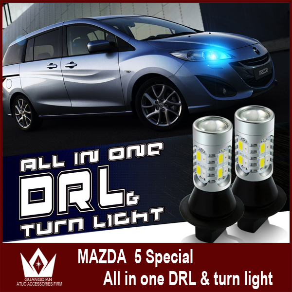 Guang Dian Fit For mazda 5 2006 Free ship Smart DRL LED daytime running lights with turn light the BAU15S all in one 5730<br><br>Aliexpress