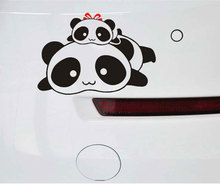Lovely 11 x 17CM Cotton Panda Car Sticker Reflective Vinyl Material Creative Cars Door Decals Scratch Sticker Black Color