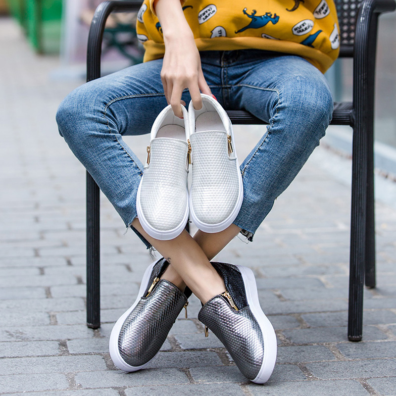 2019 Spring Leather Loafers Women Fashion Ballet Flats White Shoes Side Zipper Slip On Loafers Gray Tennis Shoes For Women(China)