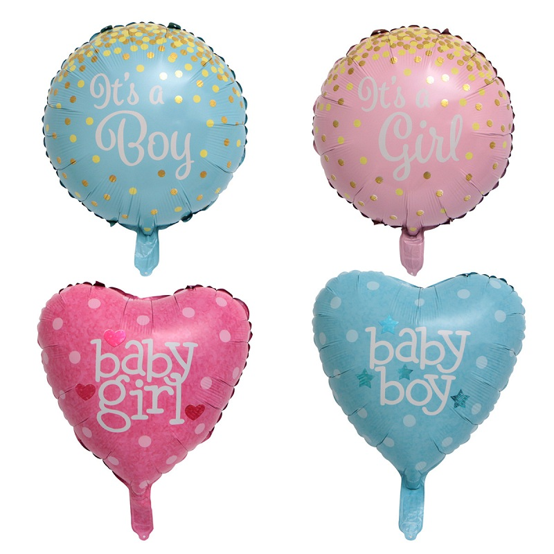 Boy Girl Baby Shower Foil Balloon Pink Bow Hello Baby Printed Balloons Gender Reveal Christening Party DIY Decoration Kid Favors