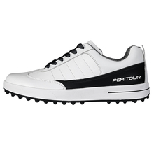 New Men's Golf Shoe Sports Shoes Top Layer Leather Waterproof Breathable (White)