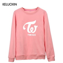 KELUOXIN Streetwear New Arrival Black White Pink Kpop TWICE Latter Print Hoodies For Men Women Momo Sana Mina Sweatshirt Fans