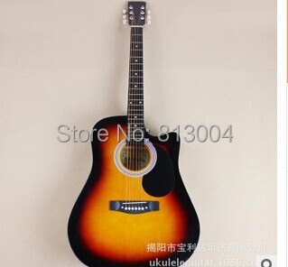 free shipping Wholesale Custom 41 inch acoustic guitar manufacturers selling practice piano The original wood color, setting sun(China (Mainland))