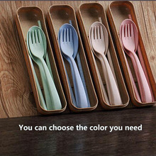 Portable Eco-Friendly Wheat Straw Cutlery Travel Kids Adult Cutlery Dinnerware Camping Picnic Set Gift Kitchen Tools