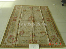 Free Shipping 6'X9' French Aubusson Rug, 100% hand woven New Zealand woolen rug--Light Grey Green field