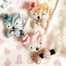 Korea Handmade Cloth Fox Flower crown Animal Hair Accessories Hair Clip Hairpin Hair Bows Headbands for Girls 3(China)