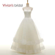 Vivian's Bridal Off Shoulder A-Line Beading Wedding Dresses Floor Length Sweetheart Ruffled Wedding Gown WD5200(China)