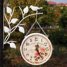 Wrought Iron Wall Clock Double Sided Watch Digital Wall Clocks Relogio Parede Vintage clocks Duvar Saatleri Klokken Relojes Klok