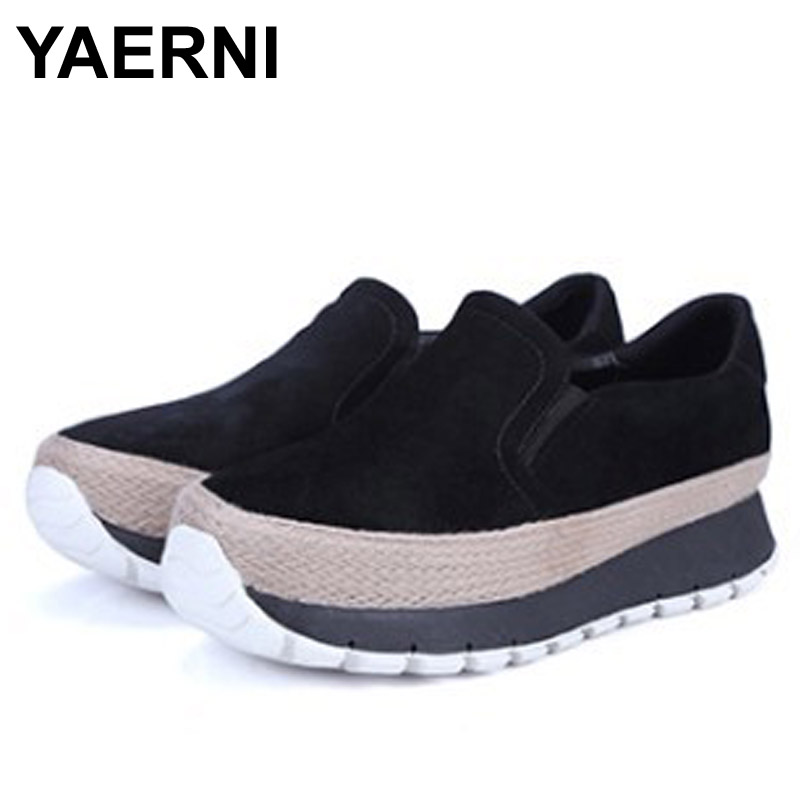 YAERNI 2017 Sping/Autumn New Genuine Leather Thick Soles Women flats platform casual shoes <br>