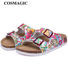 COSMAGIC 2017 New Summer Beach Cork Slippers Sandals Casual Double Buckle Clogs Sandalias Women Slip on Flip Flop Shoe Plus Size(China)