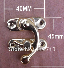 jewelry box latches Antique Hardware shackle lock horns hasp yellow 40 * 45MM Medium Box buckle